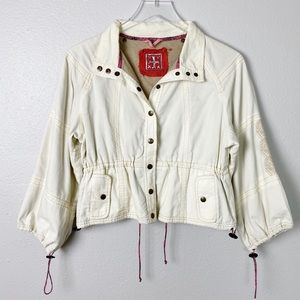 Free People Embroidered Crop Jacket Cream